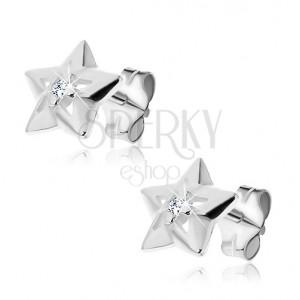 Ezüst csillag fülbevaló - bedugós, cirkonkővel