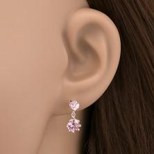 925 ezüst fülbevaló - rózsaszín cirkónia koronás fogatban, bedugós