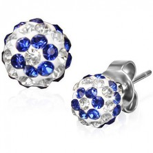 Gömb alakú acélfülbevaló tiszta és kék cirkonkövekkel