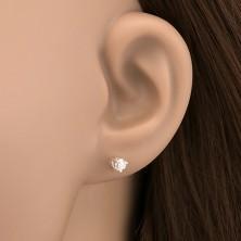 Bedugós ezüst fülbevaló - tiszta cirkónia karmos fogatban, 3.5 mm