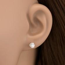 Fülbevaló 925 ezüstből - cirkónia hármas karmos fogatban, 5 mm