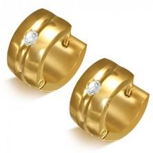 Aranyszínű acél fülbevaló - abroncs mélyedéssel és tiszta kővel