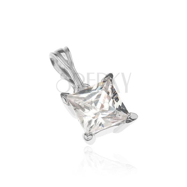 Ezüst medál - nagy négyzet cirkónia karmos fogatban