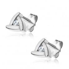 Bedugós fülbevaló 925 ezüstből - háromszög lapokból, cirkóniával