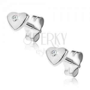 Fülbevaló 925 ezüstből - domború szívecske bevágással és cirkóniával