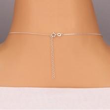 925 ezüst nyaklánc - szalag és kerek cirkónia, láncon