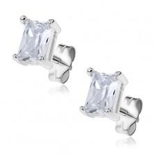 Ezüst fülbevaló - ragyogó cirkónia téglalap, dupla fogat