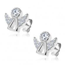 Fülbevaló 925 ezüstből - angyal sziluett tiszta cirkóniával