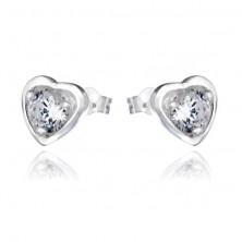 Ezüst fülbevaló - cirkónia szív alakú keretben