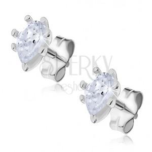 Ezüst fülbevaló - pálcikákkal rögzített cirkónia cseppek