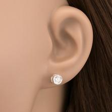 925 ezüst fülbevaló - kerek tiszta cirkónia dupla keretben, 6 mm