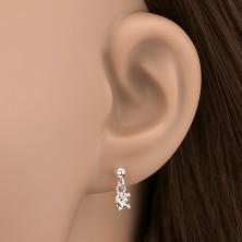 Bedugós ezüst fülbevaló -  cirkonkő függő, 4 mm