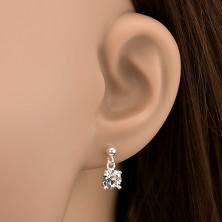Bedugós fülbevaló ezüstből - kerek cirkónia függő, 6 mm