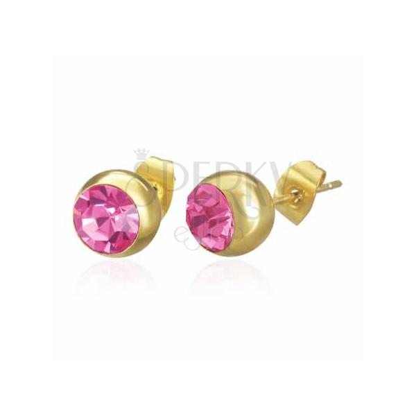 Fülbevaló sebészeti acélból - arany golyócska rózsaszín cirkóniával