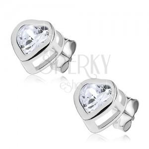 Bedugós fülbevaló 925 ezüstből - tiszta cirkónia kettős szívecskében