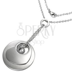 Nyaklánc és medál acélból - szív, körlap és cirkónia