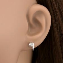 Ezüst fülbevaló - fél szívecske, cirkónia, pálcikák
