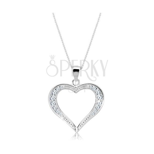 Nyakék ezüstből - széles csillogó szívecske sziluett