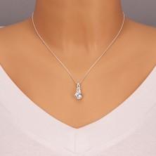 Ezüst nyaklánc - két nagy tiszta cirkónia, vékony láncon