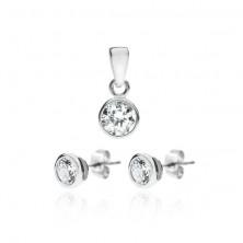 Ezüst készlet - cirkónia fülbevaló és medál kettős keretben