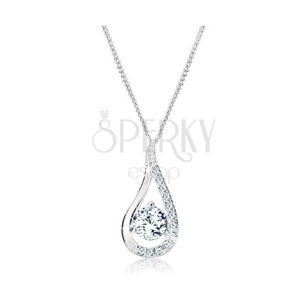 Sterling ezüst nyaklánc - hosszított könnycsepp tiszta kövekkel