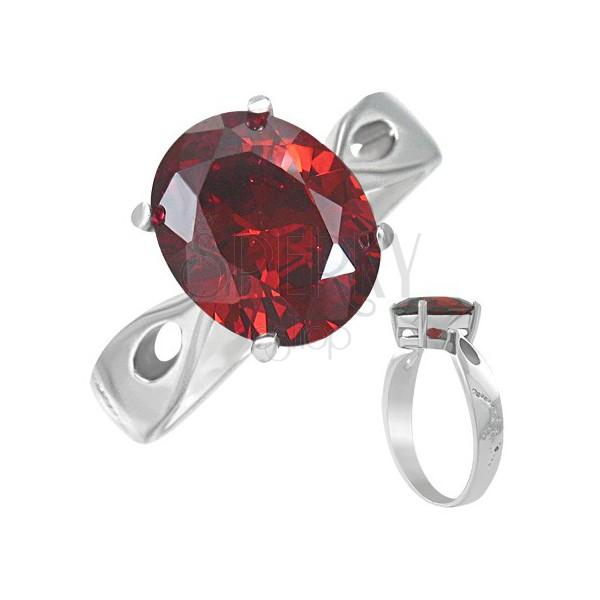 """Gyűrű nemesacélból - piros holdkő """"Január"""", könnycsepp kivágások"""