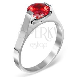 """Gyűrű nemesacélból - piros """"Január"""" holdkő, kétoldalon fogattal"""