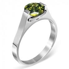 """Gyűrű nemesacélból - zöld """"Május"""" holdkő, kétoldalon fogattal"""