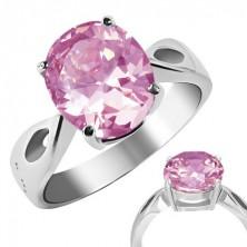 """Nemesacél gyűrű - rózsaszín """"Október"""", könnycsepp kivágások"""