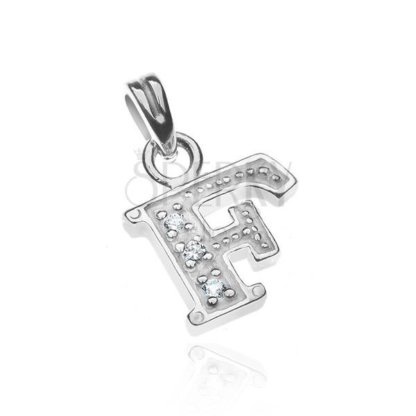 Függő ezüstből - nyomtatott F betű cirkonkövekkel