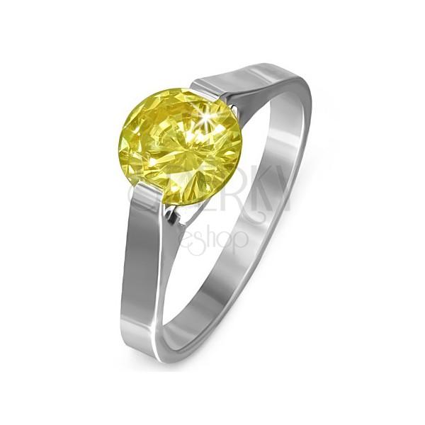 """Gyűrű acélból - sárga """"November"""" holdkő, kettős fogattal"""