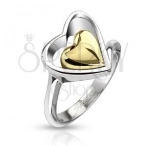 Sebészeti acél gyűrű - arany szívecske ezüst színű szívkeretben