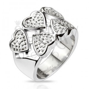 Orvosi acél gyűrű - váltakozó szívecskék pöttyökkel