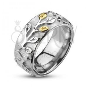 Antikolt gyűrű acélból arany és ezüst színű levelekkel