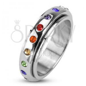 Minőségi acél gyűrű - színes cirkonkövekkel kirakott forgó abroncs