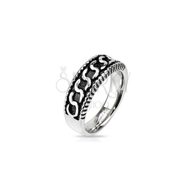 """Sebészeti acél gyűrű - """"S"""" alakú minta, antikolt"""