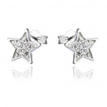 Fülbevaló 925 ezüstből - gravírozott csillagok cirkonkövekkel
