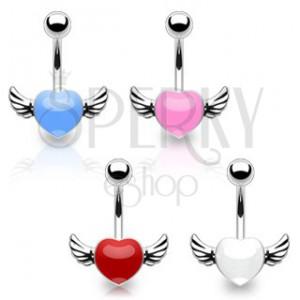 Sebészeti acél köldök piercing - színes szívecske szárnyakkal