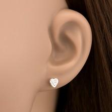 925 ezüst fülbevaló - gravírozott szívecske cirkóniákkal