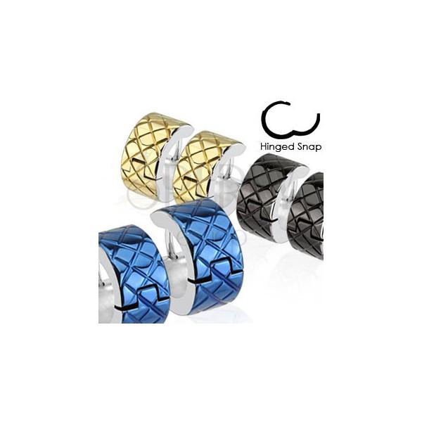 Fülbevaló orvosi acélból - színes körök ezüst színű szegéllyel