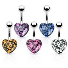 Köldök piercing acélból - színes szív leopárdmintával