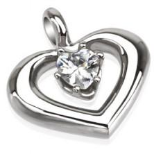 Medál acélból - szabályos szívkeret szívecske alakú cirkóniával