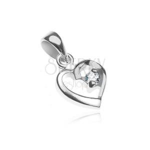 Medál 925 ezüstből - szívkörvonal cirkóniával a hajlatban