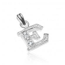 Medál ezüstből - nyomtatott E betű, beágyazott kövek