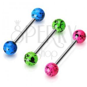 Nyelvpiercing acélból - súlyzó színes foltos golyókkal