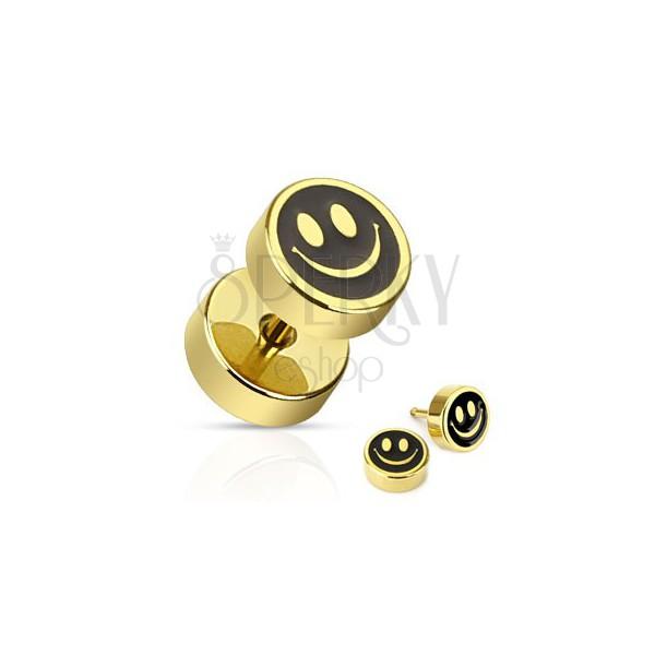 Aranyszínű fake plug acélból - mosolygós fekete smiley