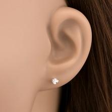 Fülbevaló 925 ezüstből - tiszta cirkónia hurkokkal, 3 mm