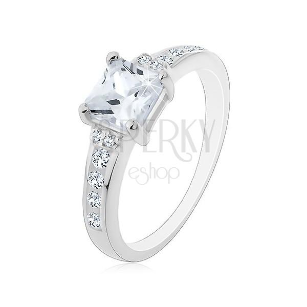 925 ezüst gyűrű - négyzet cirkónia a köves száron