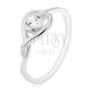 Gyűrű 925 ezüstből - keresztezett szívkörvonal cirkóniával