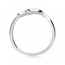 Ezüst gyűrű - ferde szívecske, cirkonköves féloldal